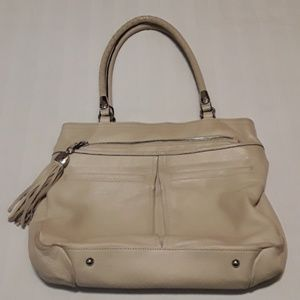 B.Makowsky Large Creme Leather Shoulder Bag